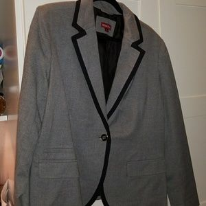Grey blazer with black detail fully lined